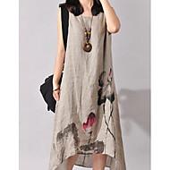 cheap -Women's Going out Beach Holiday Chinoiserie Loose Asymmetrical Dress Print Round Neck Sleeveless Cotton Linen Spring Summer