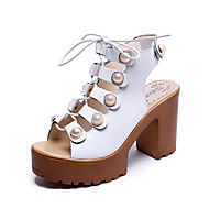 cheap Women's Sandals-Women's Shoes PU Spring Summer Club Shoes Heels Chunky Heel Block Heel Peep Toe Pearl Lace-up Hook & Loop for Dress Party & Evening White