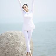 CONNY Dame Crew-hals Yoga bukser med topp Hvit sport Bomull Modal Spandex Leggings Treningsdrakt Zumba Løp Trening Langermet Store størrelser Sportsklær Pustende Høy Pusteevne Komprimering Bekvem