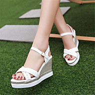 cheap Women's Shoes-Women's Shoes PU(Polyurethane) Summer Mary Jane Sandals Wedge Heel White / Pink / Wedge Heels