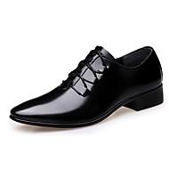 tanie Small Size Shoes-Męskie Buty Mikrowłókno Wiosna Jesień Comfort Oksfordki Spacery Materiały łączone Szurowane na Casual Black
