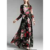 Ženske Sofisticirano Praznik Izlasci Swing kroj Haljina,Cvjetni print Print Dugih rukava Okrugli izrez Maxi Proljeće Jesen Medium Waist