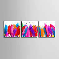 MINI SIZE E-HOME Colourful Feathers Clock in Canvas 3pcs