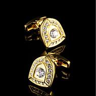 cheap Men's Accessories-Geometric Golden Cufflinks Copper Fashion Gift Boxes & Bags Men's Costume Jewelry