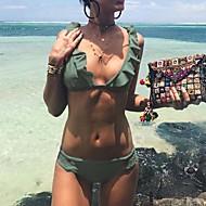 Žene Jednobojni Nabori Na vezanje oko vrata Bikini Kupaći kostimi Jednobojno uspravljen dekoltea S naborima Djetelina Crn Red Blushing