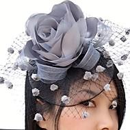 Χαμηλού Κόστους -Δίχτυ / Σατέν Γοητευτικά / Λουλούδια / Βιτρίνα Πτηνών με 1 Γάμου / Ειδική Περίσταση / Causal Headpiece