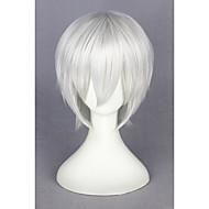 Συνθετικές Περούκες / Περούκες Στολών Γυναικεία Ίσιο Λευκή Συνθετικά μαλλιά Λευκή Περούκα Κοντό Χωρίς κάλυμμα Ασημί