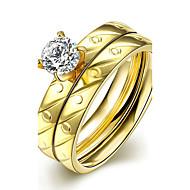 Mulheres Anéis Grossos Anel Anel de noivado Fashion Estilo simples Casamento Aço Titânio Redonda Jóias Presentes de Natal Casamento Festa