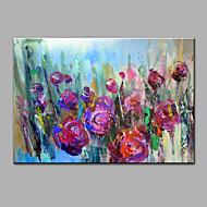 Handgeschilderde Abstract Bloemenmotief/Botanisch Horizontaal,Modern Eén paneel Canvas Hang-geschilderd olieverfschilderij For