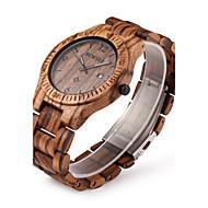 男性用 リストウォッチ ユニークなクリエイティブウォッチ 腕時計 ウッド クォーツ 日本産クォーツ カレンダー ウッド バンド ぜいたく ブラウン