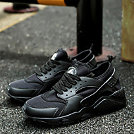 Men's Athletic Shoes Spring Summer Light Soles PU Outdoor Casual Flat Heel Lace-up Black