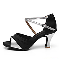 baratos Sapatilhas de Dança-Mulheres Sapatos de Dança Latina Couro / Tecido Sandália / Salto Presilha Salto Cubano Personalizável Sapatos de Dança Prata / Black /