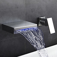 Modern Wall Mounted LED Waterfall Basin Faucet Thermostatic with  Brass Valve Single Handle Two Holes for  Chrome Bathroom Faucet Mixer Tap
