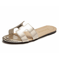 baratos Sapatos Femininos-Mulheres Sapatos Courino Verão MaryJane Sandálias Caminhada Salto Baixo Ponta Redonda Branco / Preto / Prata