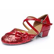 billige Moderne sko-Barne Latin Glimtende Glitter Paljett Kunstlær Sandaler Ytelse Paljett Appliqué Spenne Tykk hæl Gull Sølv Lilla Fuksia Rød Kan