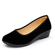 baratos Sapatos de Tamanho Pequeno-Feminino Sapatos Tecido Verão Conforto Rasos Salto Baixo Para Casual Preto