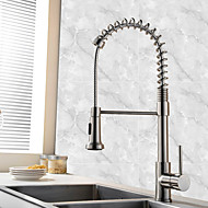 Contemporary Art Deco/Retro Modern Pull-out/Pull-down Vessel Widespread Pullout Spray Ceramic Valve Single Handle One Hole Nickel Brushed