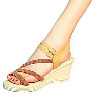 baratos Sapatos Femininos-Mulheres Sapatos Couro Ecológico Verão Conforto Sandálias Salto Plataforma para Ao ar livre Branco Preto Castanho Escuro