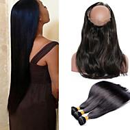 お買い得  ヘアエクステンション-バミーズヘア ストレート 360正面 人間の髪織り 4個 0.3