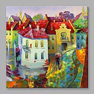 Χαμηλού Κόστους -Hang-ζωγραφισμένα ελαιογραφία Ζωγραφισμένα στο χέρι - Τοπίο Ευρωπαϊκό Στυλ Μοντέρνα Καμβάς