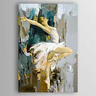 Pintados à mão Pessoas Vertical,Moderno 1 Painel Tela Pintura a Óleo For Decoração para casa