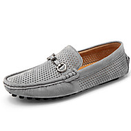 baratos Sapatos de Tamanho Pequeno-Homens Sapatos de Condução Couro de Porco Verão / Outono Conforto Mocassins e Slip-Ons Cinzento / Azul / Khaki