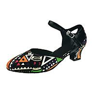 """billige Moderne sko-Dame Moderne Kunstlær Sandaler Høye hæler Ytelse Spenne Tvinning Kustomisert hæl Svart-Hvit 1 """"- 1 3/4"""" 2 """"- 2 3/4"""" 3 """"- 3 3/4"""" 4"""" tommer"""