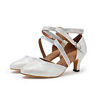 """billige Moderne sko-Dame Moderne Kunstlær Sandaler Høye hæler Profesjonell Rhinsten Spenne Kustomisert hæl Gull Sølv 1 """"- 1 3/4"""" 2 """"- 2 3/4"""" 3 """"- 3 3/4"""" 4"""""""