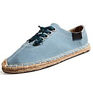 Heren Sneakers Lente Herfst Comfortabel Tule Buiten Wandelen Platte hak Veters Wit Zwart Blauw