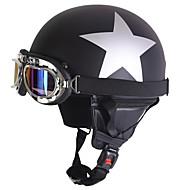 Casco de motocicleta de meia face Prata Padrão de estrela Padrão abdominais de rua Capacete de motocicleta Matte Black Color