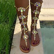 baratos Sapatos de Tamanho Pequeno-Feminino Sapatos Couro Ecológico Primavera Verão Inovador Sandálias Sem Salto Pedrarias Flor para Casamento Social Festas & Noite Dourado