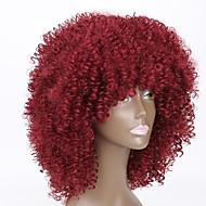 Mulher Perucas sintéticas Médio Reto Kinky Liso Vermelho Peruca Afro Americanas Peruca Natural Peruca de Halloween Peruca de carnaval