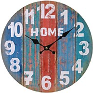 Round Vintage France Paris Colourful French Country Tuscan Style Paris Creative Wood Wall Clock Watch