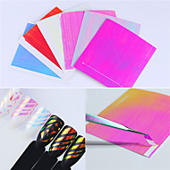 6 Sheets Holo 3D Nail Sticker Adhesive Ultra Thin Laser Line Candy Nail Foil Decal