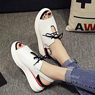 hesapli -Kadın Düz Ayakkabılar Rahat Bahar Kanvas PU Günlük Beyaz Siyah Gümüş Düz