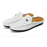 cheap Men's Clogs & Mules-Men's Shoes Pigskin Spring / Summer Comfort Loafers & Slip-Ons Walking Shoes White / Black / Brown / Wedding / Party & Evening