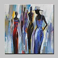 cheap Oil Paintings-Hand-Painted People Square, European Style Modern Canvas Oil Painting Home Decoration One Panel