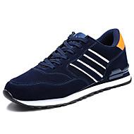 Masculino-Tênis-Conforto-Rasteiro-Cinzento Azul-Couro Ecológico-Casual