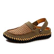 ユニセックス 靴 レザー マイクロファイバー 春 夏 穴の靴 下駄とミュール 用途 カジュアル ダークブラウン カーキ色
