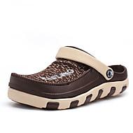 남성 클로그 & 뮬 조명 신발 PU 여름 캐쥬얼 워킹화 조명 신발 리벳 플랫 블랙 브라운 레드 블루 5cm- 7cm