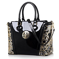 cheap Totes-Women's Bags Patent Leather Polyester Tote for Event/Party Casual Office & Career All Seasons Blue Champagne Black Red