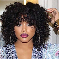 Synthetic Wig Wavy / Kinky Curly Style Capless Wig Black Natural Black Synthetic Hair Women's African American Wig Black Wig Medium Length Natural Wigs