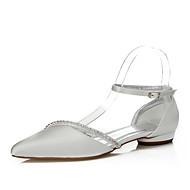 baratos Sapatos Femininos-Mulheres Sapatos Seda Primavera / Outono Conforto / Sapatos Dyeable Sapatos De Casamento Salto Baixo Dedo Apontado Corrente Ivory / Festas & Noite