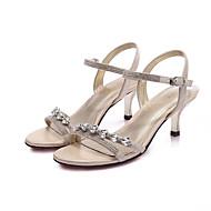 baratos Sapatos de Tamanho Pequeno-Feminino Sapatos Couro Ecológico Verão Chanel Sandálias Salto Robusto para Casual Dourado Preto Prata
