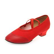 billige Moderne sko-Dame Jazz-sko Lerret Høye hæler Lav hæl Kan spesialtilpasses Dansesko Rød / Trening