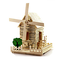 cheap -3D Puzzles Wood Model Windmill Famous buildings House Architecture DIY Wood