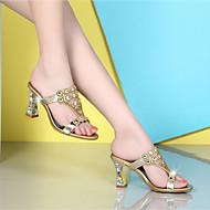 샌들-캐쥬얼-여성-클럽 신발-캐시미어-청키 굽-