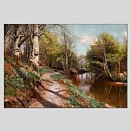 billiga Landskapsmålningar-Hang målad oljemålning HANDMÅLAD - Landskap Klassisk Moderna Duk