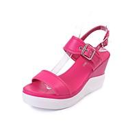 Kadın Sandaletler Yürüyüş Hafif Tabanlar PU Bahar Yaz Sonbahar Kış Günlük Toka Dolgu Topuk Creepers Beyaz Siyah Fuşya 3inç-3 3/4inç