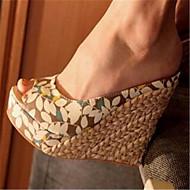 Sandály-PU-Mary Jane-Dámské-Mandlová-Běžné-Klín